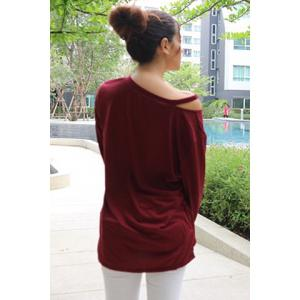 Casual V-Neck Long Sleeve T-Shirt For Women - WINE RED ONE SIZE(FIT SIZE XS TO M)