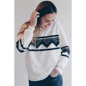 Long Sleeve Chevron Graphic Sweatshirt - WHITE L