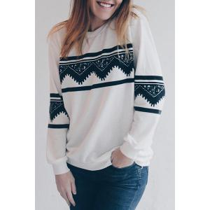 Long Sleeve Chevron Graphic Sweatshirt - White - S