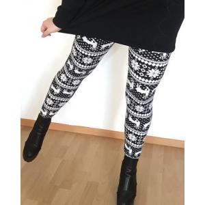 Stylish Women's High Waist Geometrical Print Christmas Leggings - COLORMIX ONE SIZE(FIT SIZE XS TO M)
