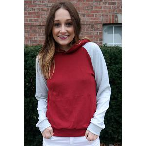 Trendy Hooded Hit Color Pocket Design Pullover Hoodie For Women - WINE RED S