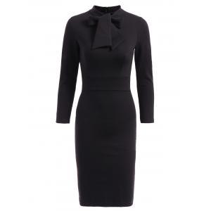 OL Style 3/4 Sleeve Pure Color Bodycon Dress For Women