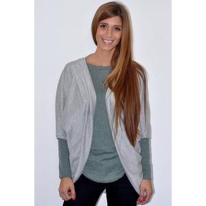 Casual Solid Color 3/4 Sleeve Loose Collarless Cardigan For Women - GRAY M