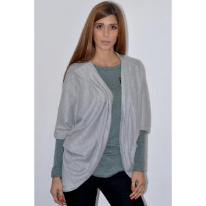 Casual Solid Color 3/4 Sleeve Loose Collarless Cardigan For Women - GRAY L