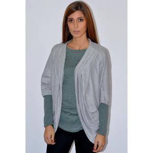 Casual Solid Color 3/4 Sleeve Loose Collarless Cardigan For Women - GRAY XL
