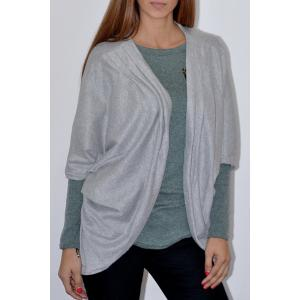 Casual Solid Color 3/4 Sleeve Loose Collarless Cardigan For Women - Gray - Xl