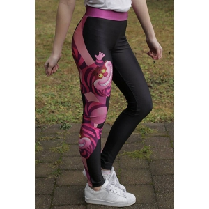 Chic Cartoon Printed Color Block Elastic Bodycon Yoga Pants For Women -