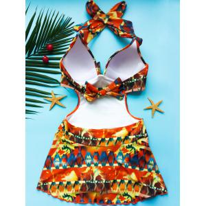 Halter Printed Cut Out Monokini Dress One Piece Swimwear - COLORMIX S