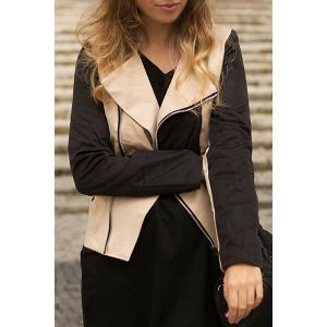 Stylish Turn-Down Collar Long Sleeve Color Block Slimming Women's Jacket