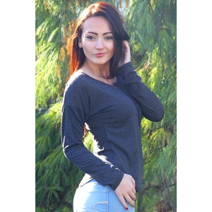 Stylish Plunging Neck Solid Color Long Sleeve T-Shirt For Women - DARK GREY L