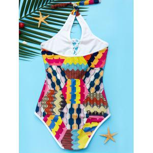 Women's Sexy Lace-Up Colorful Print Hollow Out One Piece Swimwear -