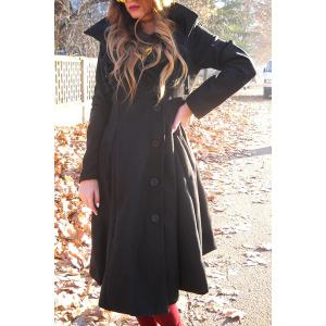 Asymmetrical Maxi Flare Coat - Black - L