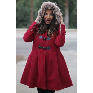 Graceful Hooded Long Sleeve Faux Fur Spliced Women's Hooded Coat -