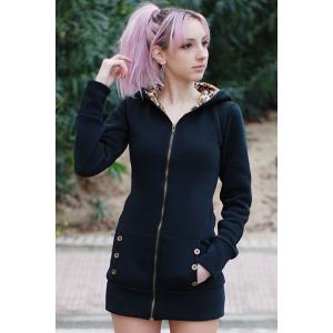 Sexy Hooded Inside Leopard Printed Thick Hoodie For Women -