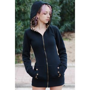 Sexy Hooded Inside Leopard Printed Thick Hoodie For Women - BLACK M