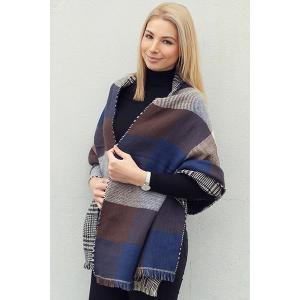 Chic Plaid and Houndstooth Pattern Tassel Warmth Reversible Scarf For Women - COLOR ASSORTED