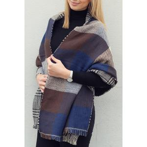 Chic Plaid and Houndstooth Pattern Tassel Warmth Reversible Scarf For Women - Color Assorted - M