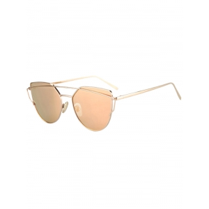 Fashion Metal Bar Golden Frame Pilot Sunglasses For Women - Golden