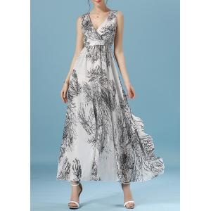 Plunging Neck Sleeveless Printed Maxi Evening Dress