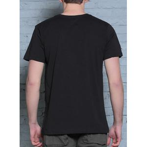 Hot Sale 3D Firedragon Print Round Neck Short Sleeves Black T-Shirt For Men -