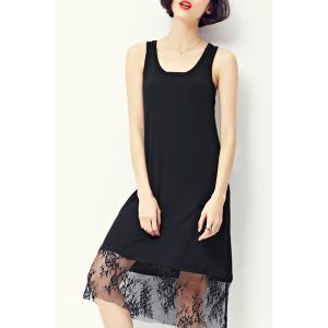 Graceful U Neck Sleeveless Voile Spliced Flower Pattern Black Dress For Women -