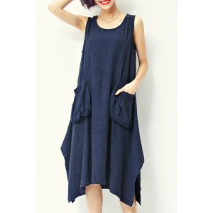 Casual Style Scoop Neck Sleeveless Loose-Fitting Pocket Design Midi Dress For Women -