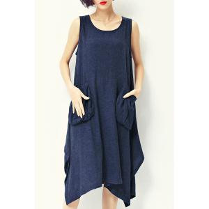 Casual Style Scoop Neck Sleeveless Loose-Fitting Pocket Design Midi Dress For Women