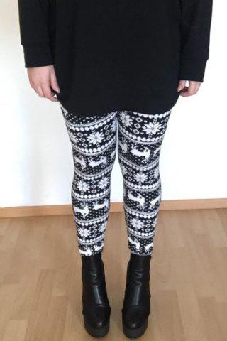 Discount Stylish Women's High Waist Geometrical Print Christmas Leggings - ONE SIZE(FIT SIZE XS TO M) COLORMIX Mobile
