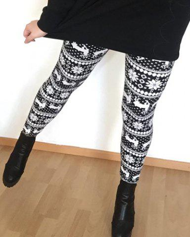 Affordable Stylish Women's High Waist Geometrical Print Christmas Leggings - ONE SIZE(FIT SIZE XS TO M) COLORMIX Mobile