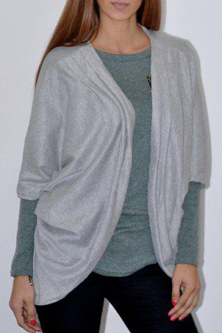 New Casual Solid Color 3/4 Sleeve Loose Collarless Cardigan For Women GRAY S