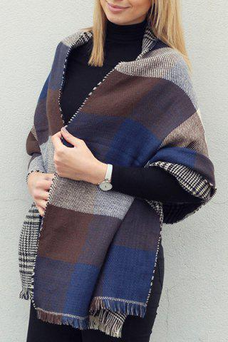 Fashion Chic Plaid and Houndstooth Pattern Tassel Warmth Reversible Scarf For Women COLOR ASSORTED