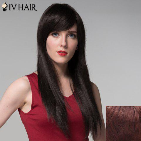 Sale Graceful Long Capless Fashion Silky Straight Side Bang Real Human Hair Wig For Women