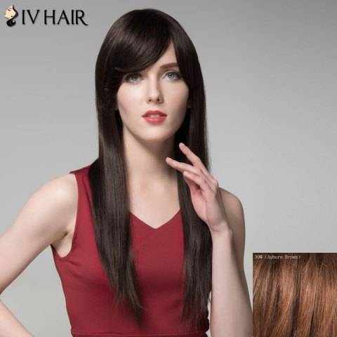 Shop Charming Natural Straight Capless Vogue Long Side Bang Human Hair Wig For Women