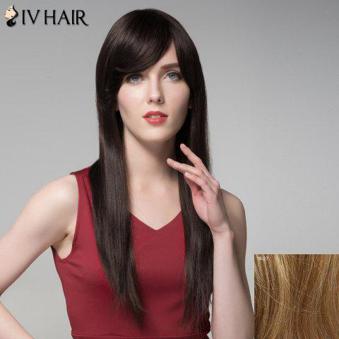 Best Charming Natural Straight Capless Vogue Long Side Bang Human Hair Wig For Women - LIGHT BLONDE 18/27#  Mobile