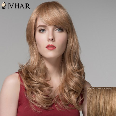 Unique Charming Fluffy Wavy Capless Long Side Bang Real Natural Hair Wig For Women BROWN/BLONDE