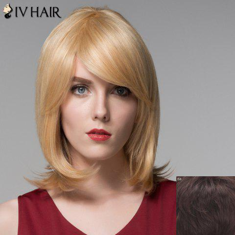 Cheap Trendy Medium Side Bang Noble Straight Tail Adduction Capless Human Hair Wig For Women