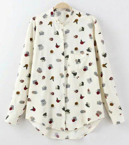 Stand Collar Flower Print Long Sleeve Blouse For Women 175039501