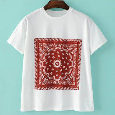 Fashion Brief Round Neck Square Print Short Sleeve T Shirt For Women
