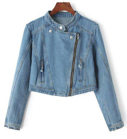Outfit Stylish Stand Collar Zippered Long Sleeve Denim Jacket For Women
