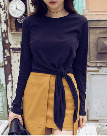 Fancy Chic Round Collar Long Sleeve Asymmetrical T-Shirt For Women