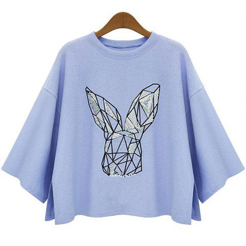 Buy Batwing Sleeve Graphic T-Shirt LIGHT BLUE S