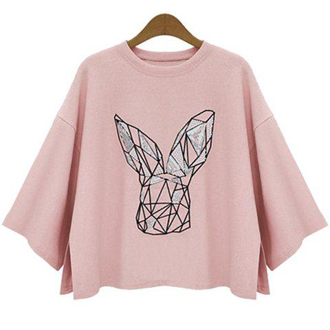 Store Batwing Sleeve Graphic T-Shirt - XL PINK Mobile