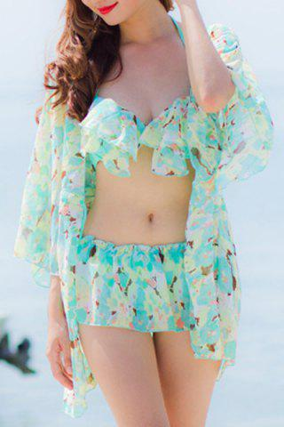 Outfit Sexy Halter Floral Print Flounce Three-Piece Swimsuit For Women