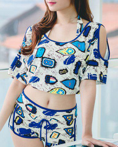 Hot Fashionable Halter Push Up Print Three-Piece Swimsuit For Women BLUE L