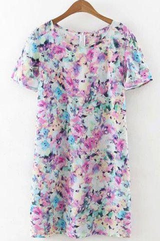 Outfit Refreshing Round Collar Tiny Floral Print Short Sleeve Dress For Women