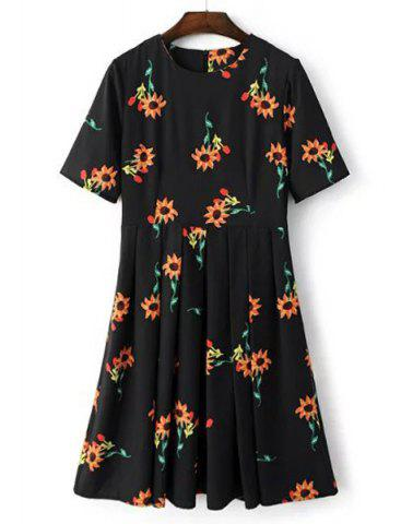 Shop Brief Round Collar Sunflower Print Short Sleeve Midi Dress For Women