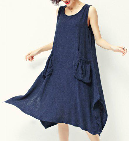 Store Casual Style Scoop Neck Sleeveless Loose-Fitting Pocket Design Midi Dress For Women - XL PURPLISH BLUE Mobile