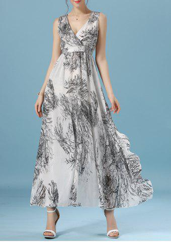 New Plunging Neck Sleeveless Printed Maxi Evening Dress
