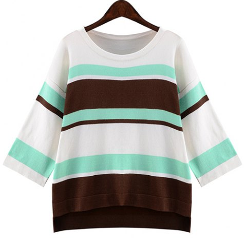 Unique Refreshing Round Collar 3/4 Sleeve Striped High-Low Hem Loose Knitwear For Women