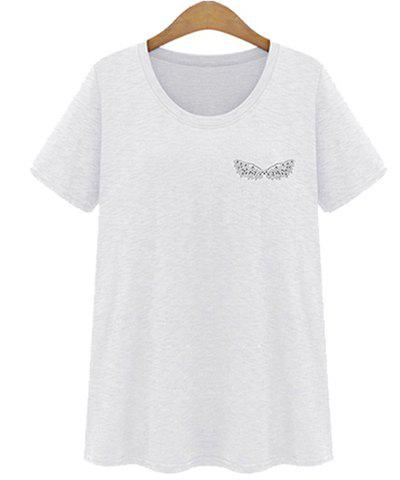 Outfits Jewel Neck Short Sleeve Diamond Decorated T-Shirt WHITE XL
